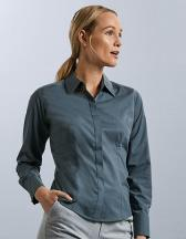 Ladies` Long Sleeve Fitted Polycotton Poplin Shirt